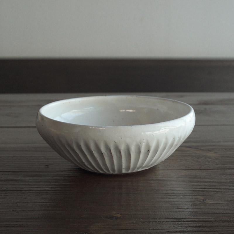 粉引削ぎ目/盛り鉢