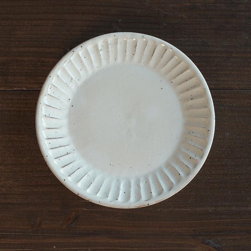 粉引削ぎ目/大皿