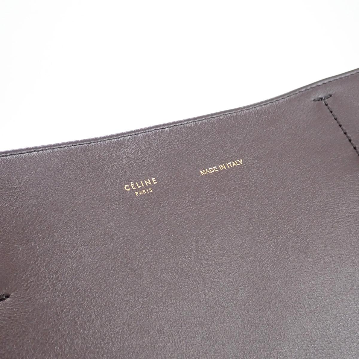 【辛口評価】【ABランク】CELINE セリーヌ カバファントム スモール トートバッグ 189023 カーフスキン ブラウン