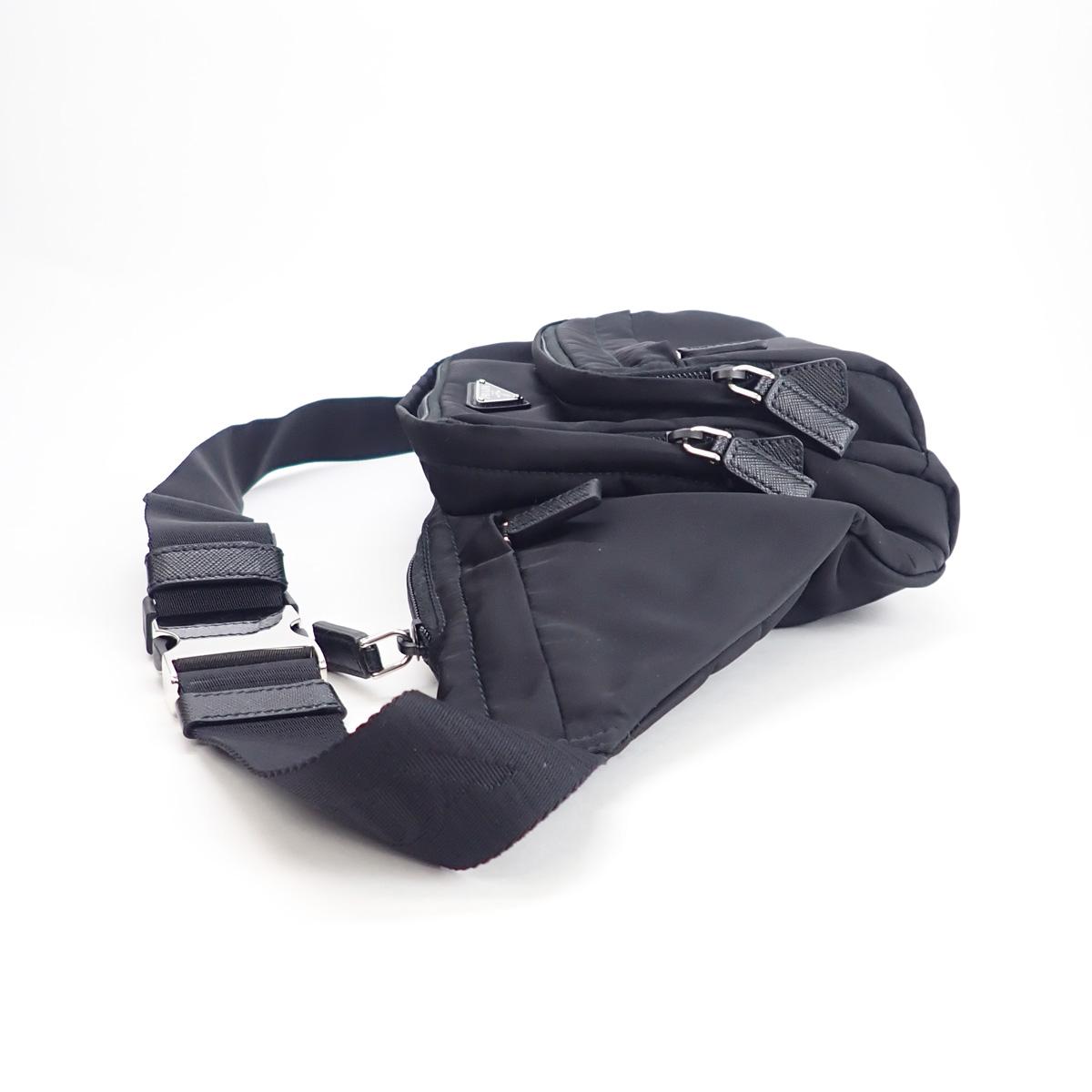 【辛口評価】【Aランク】PRADA プラダ ファブリック ベルトバッグ ボディバッグ 2VL003 ナイロン ブラック
