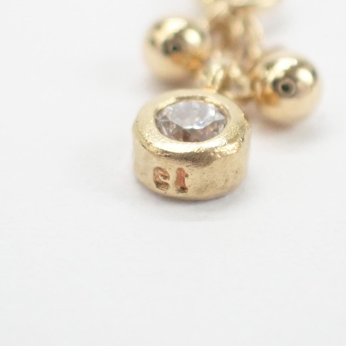 【辛口評価】【Aランク】K18YG デザイン ピアス ダイヤモンド