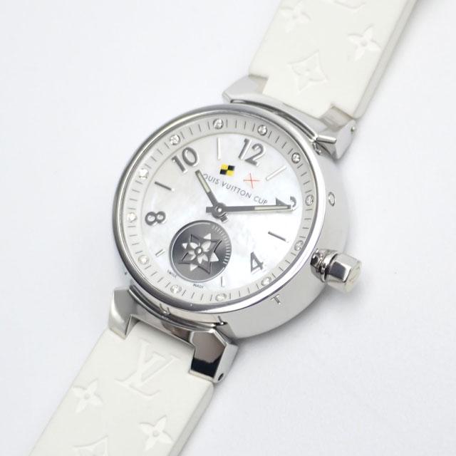 【辛口評価】【ABランク】LOUIS VUITTON ルイヴィトン タンブール Q12M0 ホワイトシェル文字盤×ホワイトラバー 12Pダイヤ