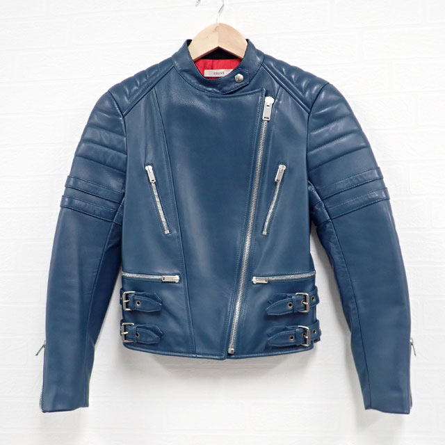 【辛口評価】【ABランク】CELINE セリーヌ シープスキン バイカーライダースジャケット サイズ36 ブルー系