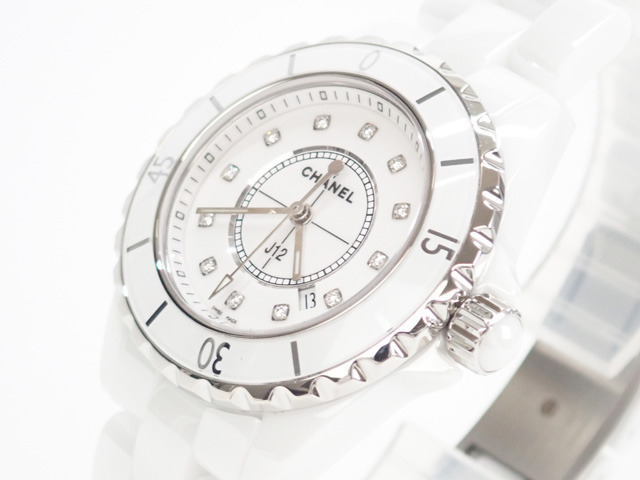 【辛口評価】【Aランク】CHANEL シャネル J12 33mm 12Pダイヤ H1628 ホワイト
