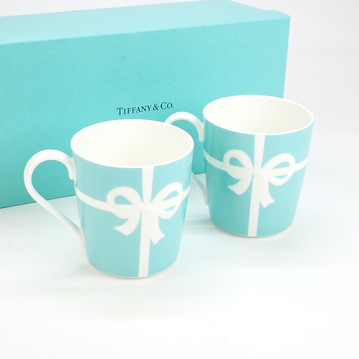 【辛口評価】【Sランク】TIFFANY ティファニー リボン ペア マグカップ  ブルーボックス