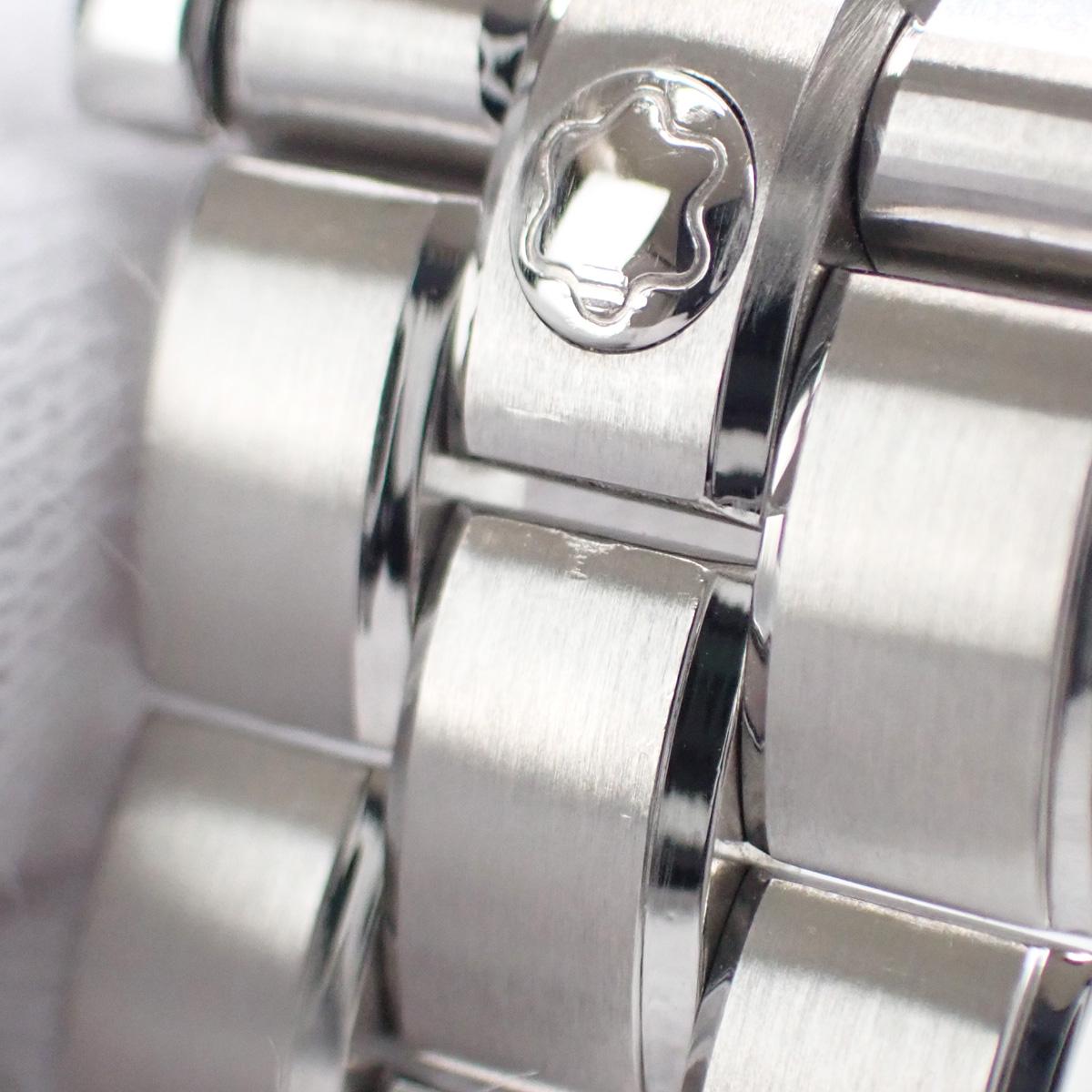 【辛口評価】【Aランク】MONTBLANC モンブラン スター デイト オートマティック MB107316 ブルーリーフ針 シルバー文字盤