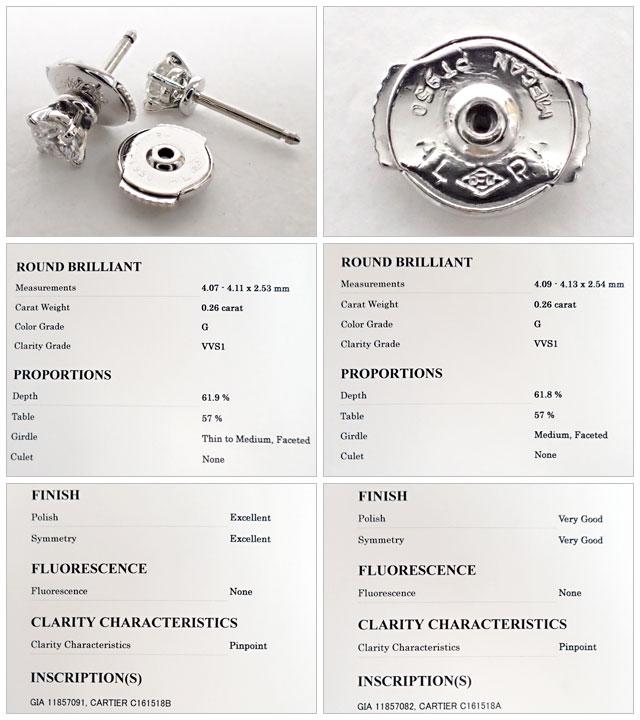 Cartier カルティエ Pt950 ソリテール1895 ダイヤモンド ピアス ダイヤ0.26ct×2【中古A】【中古】