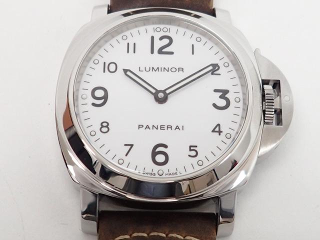 【辛口評価】【ABランク】PANERAI パネライ ルミノールベース PAM00114 ブラウンレザー ホワイト文字盤