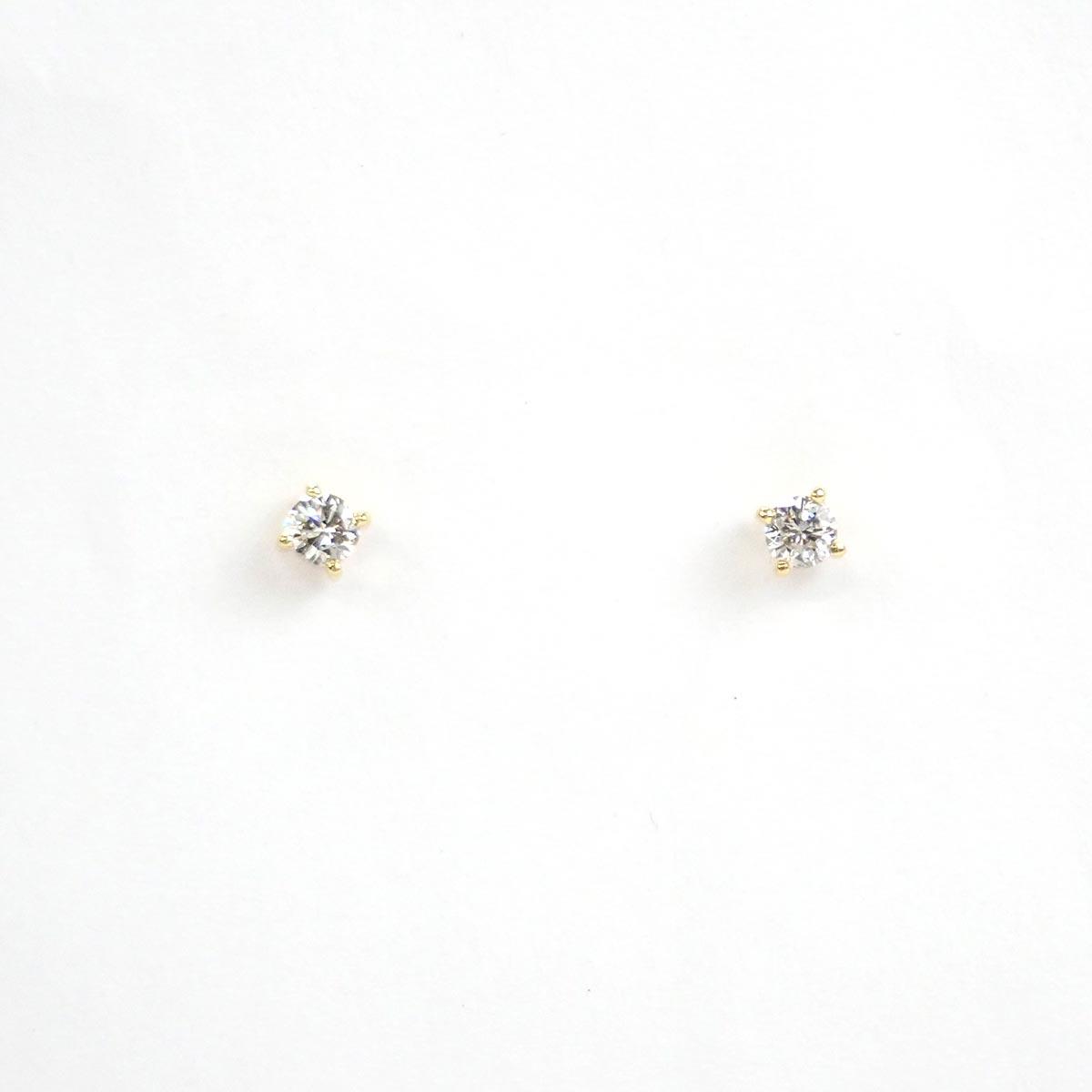 【辛口評価】【Aランク】K18YG デザイン ピアス ダイヤ 0.14/0.14ct