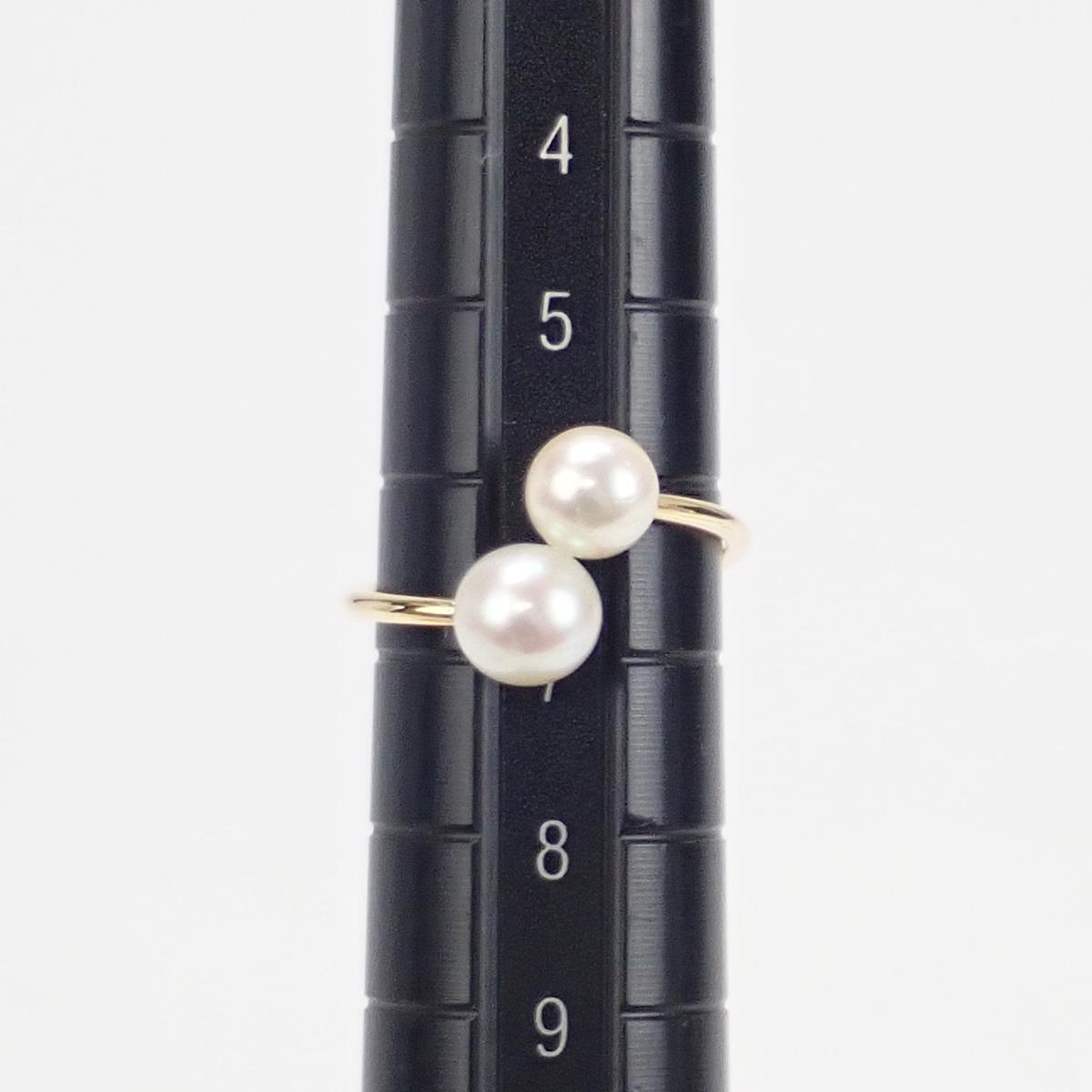 【辛口評価】【Aランク】恵パール K18YG 2連パール リング アコヤ真珠 5〜5.5/5.5〜6mm ゲージ棒約6.5号