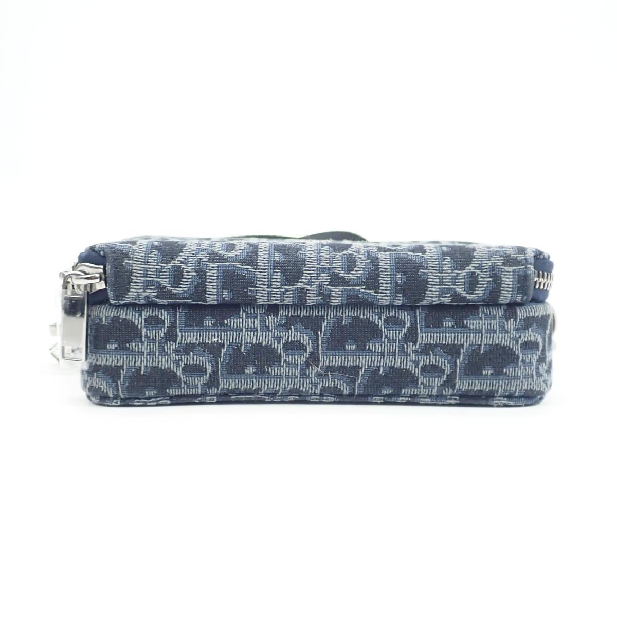 【辛口評価】【Aランク】Christian Dior クリスチャン ディオール オブリーク ポーチ ショルダーバッグ 2OBBC119YSE_H14E ブルー