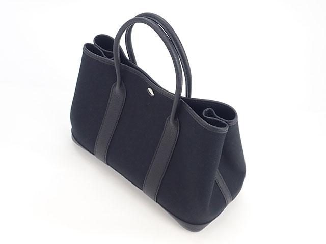 【辛口評価】【Sランク】HERMES エルメス ガーデンパーティTPM ハンドバッグ トワルミリタリー×ネゴンダ ブラック×シルバー金具