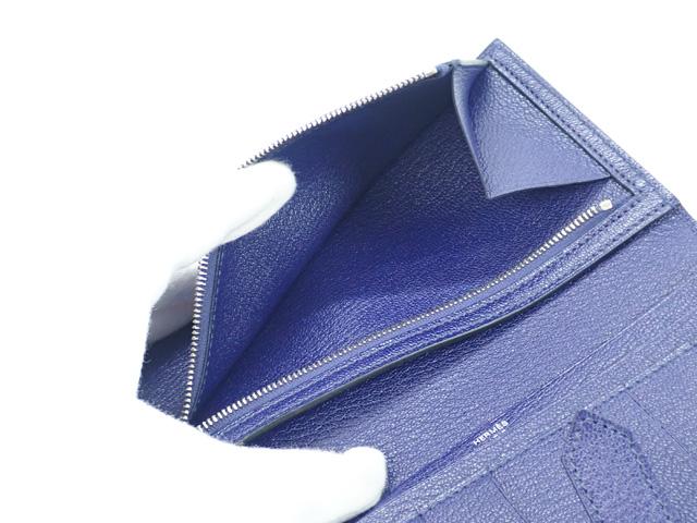 【辛口評価】【Sランク】HERMES エルメス ベアン スフレ 二つ折り長財布  シェブルミゾル ブルー シルバー金具 039078CK
