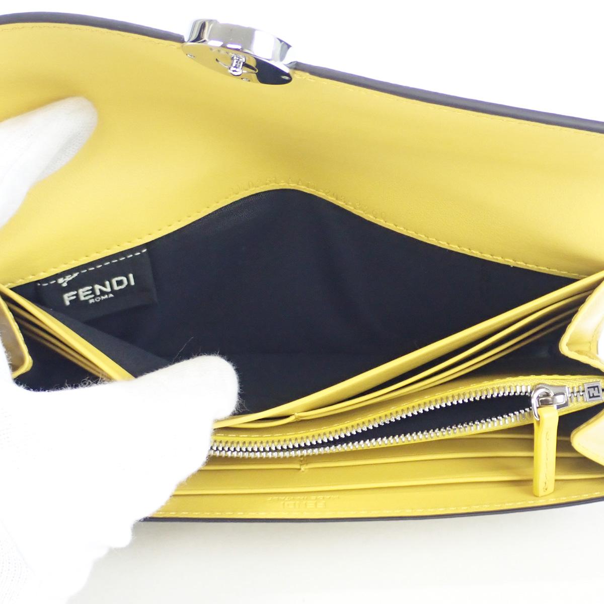 【辛口評価】【Sランク】FENDI フェンディ コンチネンタル財布 8M0251AAIIF19DA レザー ブラウン イエロー