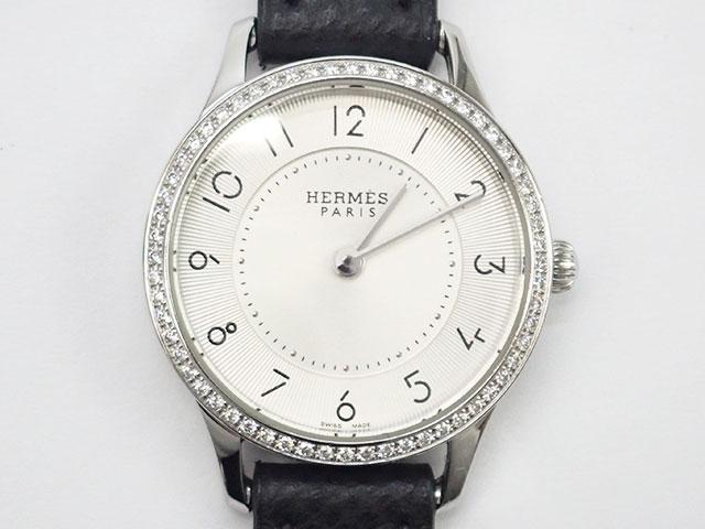 【辛口評価】【Aランク】HERMES エルメス スリム ドゥ エルメス レディース腕時計 CA2.130 白文字盤 ブラックレザー