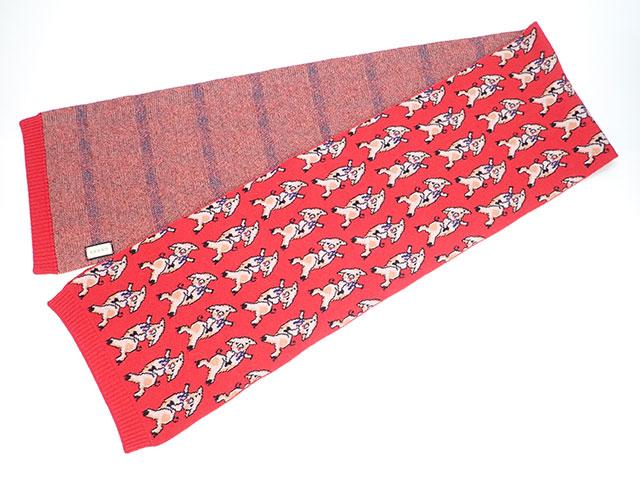 【辛口評価】【Aランク】GUCCI グッチ 三匹の子豚 マフラー ウール100% レッド