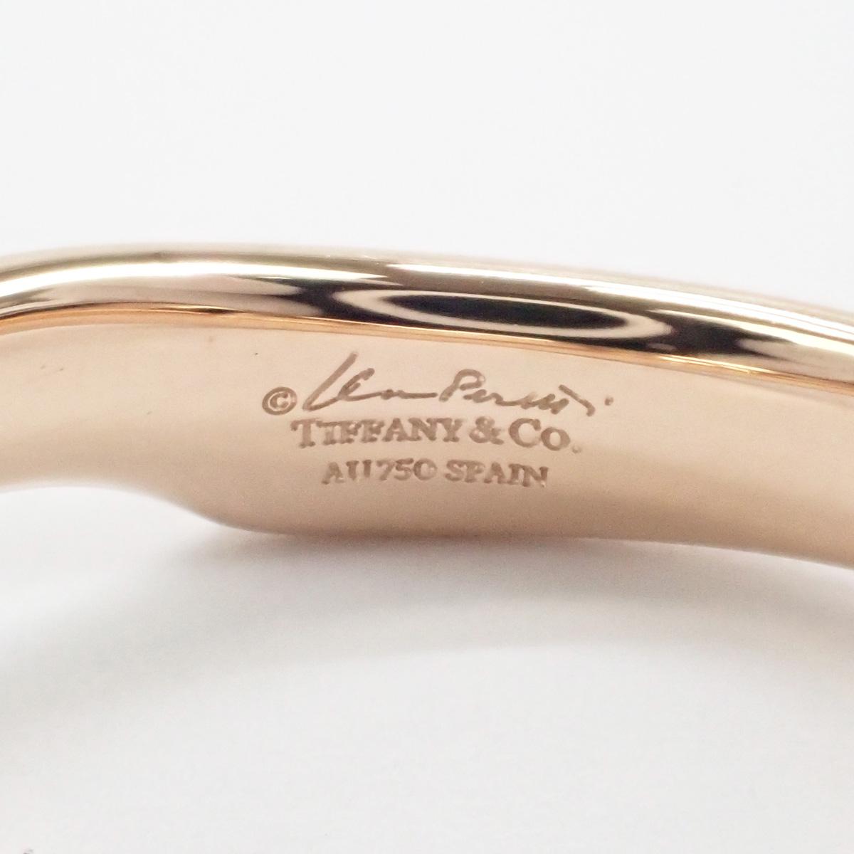 【辛口評価】【Aランク】Tiffany&Co. ティファニー K18PG オープンハート バンド リング ダイヤ 約0.04ct ゲージ棒約9号