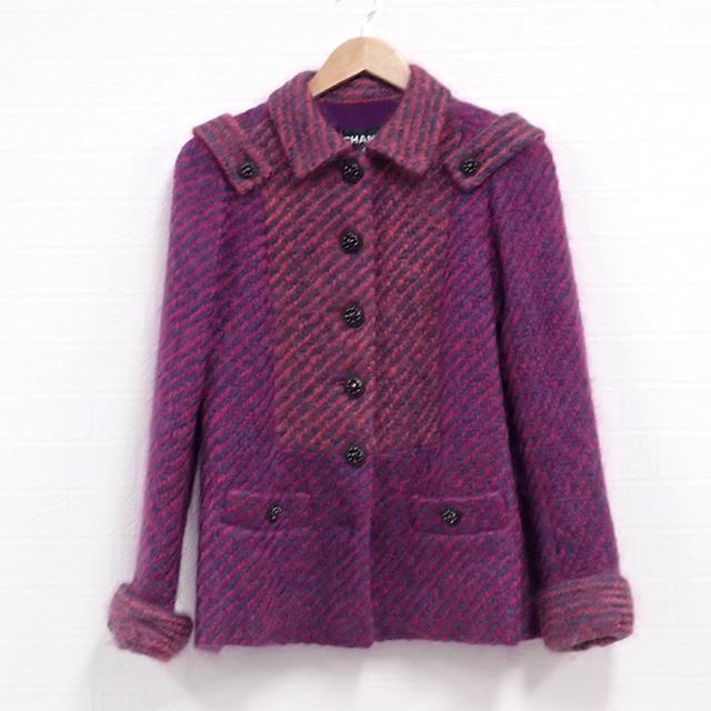 【辛口評価】【Aランク】CHANEL シャネル モヘアジャケット サイズ34 ピンク