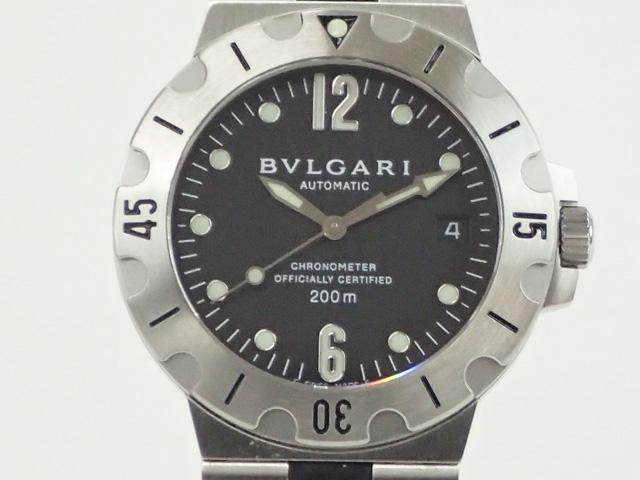 【辛口評価】【ABランク】BVLGARI ブルガリ ディアゴノ スクーバ SD38BSVD ブラック文字盤×ブラックラバー