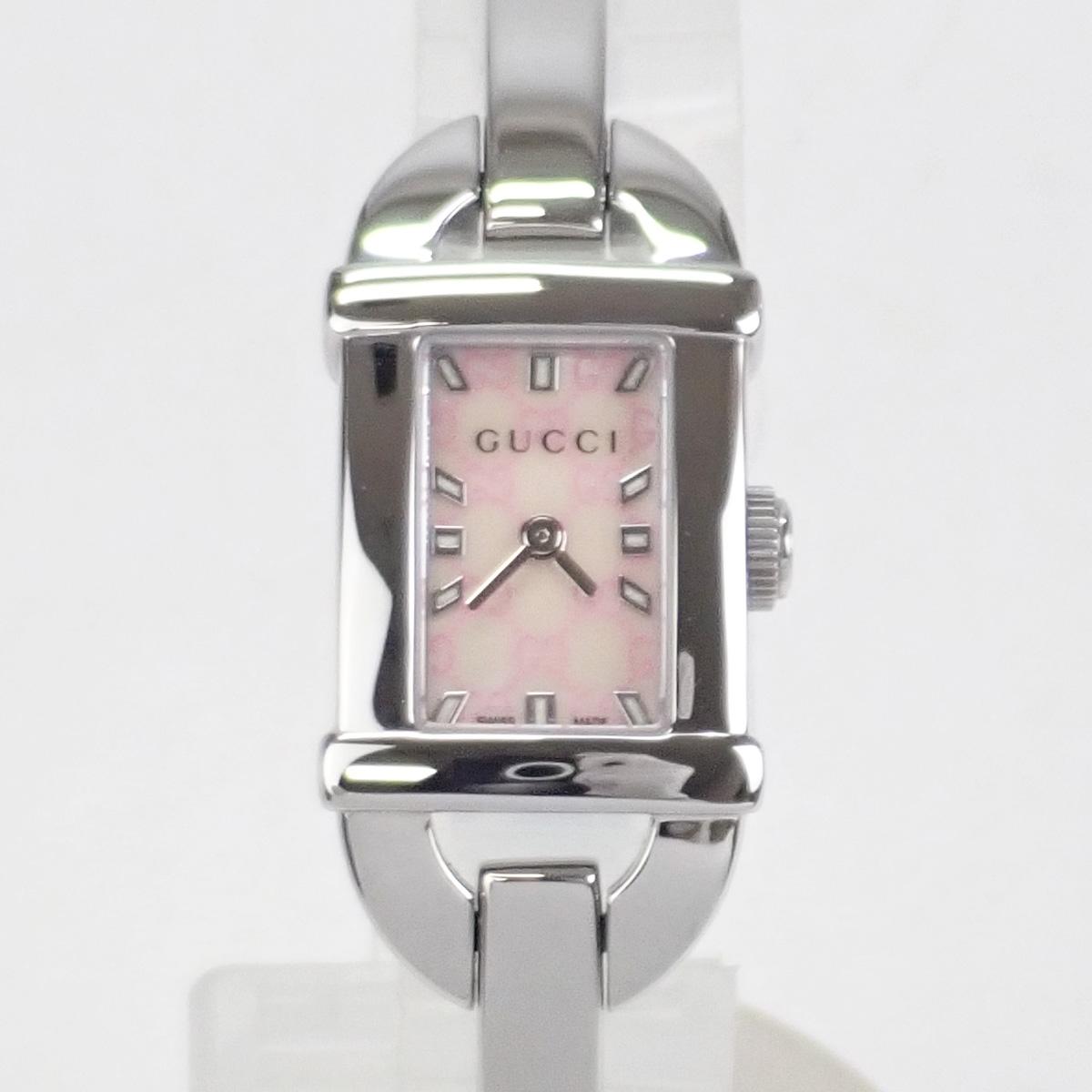 【辛口評価】【Aランク】GUCCI グッチ SS バンブー レディース 腕時計 YA068586 ピンクシェル文字盤