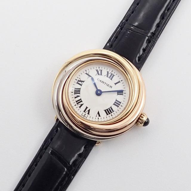 【辛口評価】【Aランク】Cartier カルティエ K18YG WG PG トリニティ 腕時計 W6000156 白文字盤 ブラックレザー