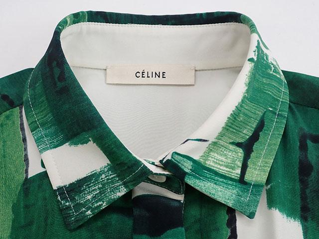 【辛口評価】【Aランク】CELINE セリーヌ ノースリーブ シルク シャツ サイズ34 グリーン