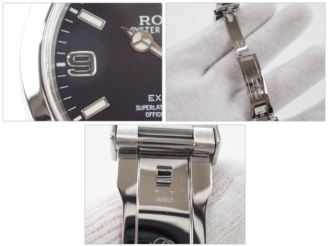 【辛口評価】【Aランク】ROLEX ロレックス エクスプローラーI 214270 ブラックアウト 鏡面バックル 国内正規品 ギャランティー付き