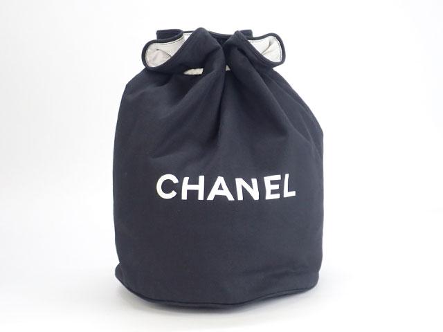 【辛口評価】【Bランク】CHANEL シャネル キャンバス 巾着バッグ ノベルティ ショルダーバッグ ブラック