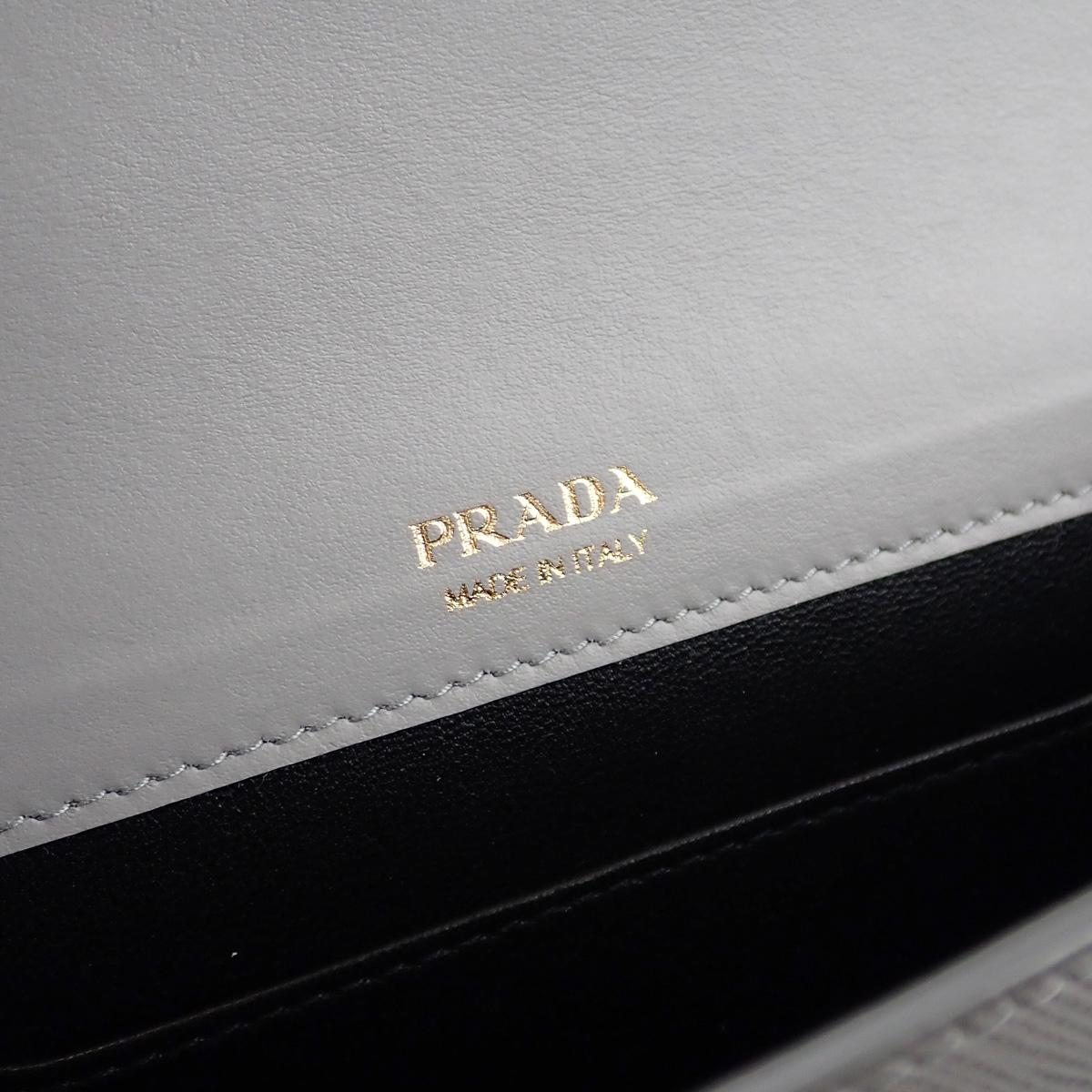 【辛口評価】【Aランク】PRADA プラダ サフィアーノレザー ミニバッグ ショルダーバッグ 1BP020_2EEP_F0424_V_OOO 国内正規品 ライトグレー
