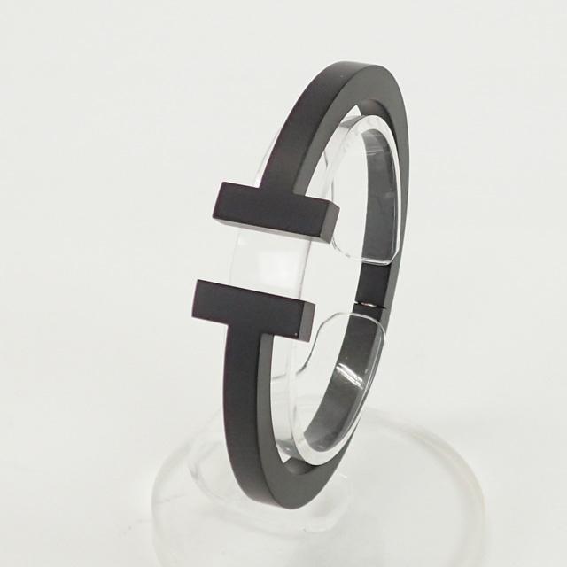 【辛口評価】【Sランク】Tiffany&Co. ティファニー ティファニーT スクエア ブレスレット サイズS ステンレススチール ブラックコーティング