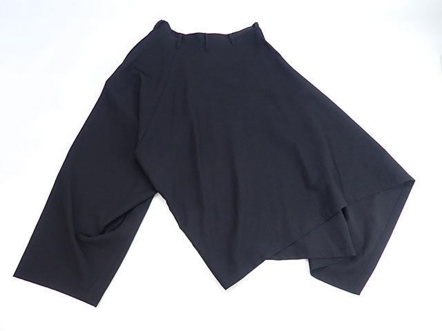 【辛口評価】【Aランク】YOHJI YAMAMOTO ヨウジ ヤマモト ギャバジンアシンメトリー サルエル パンツ NR-P55-107 サイズ1 ウール ブラック