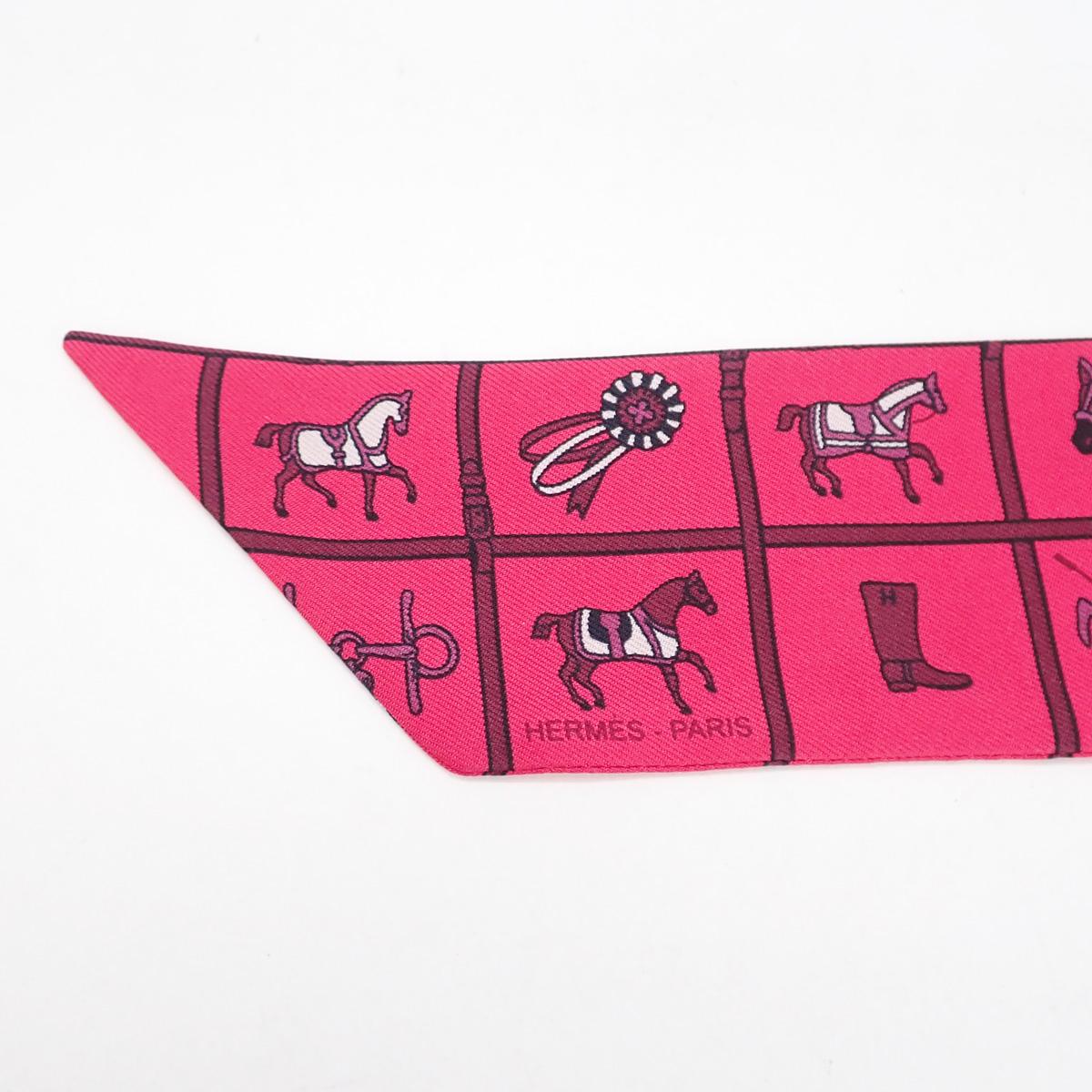 【辛口評価】【Aランク】HERMES エルメス 馬柄 ツイリースカーフ シルク100% ピンク