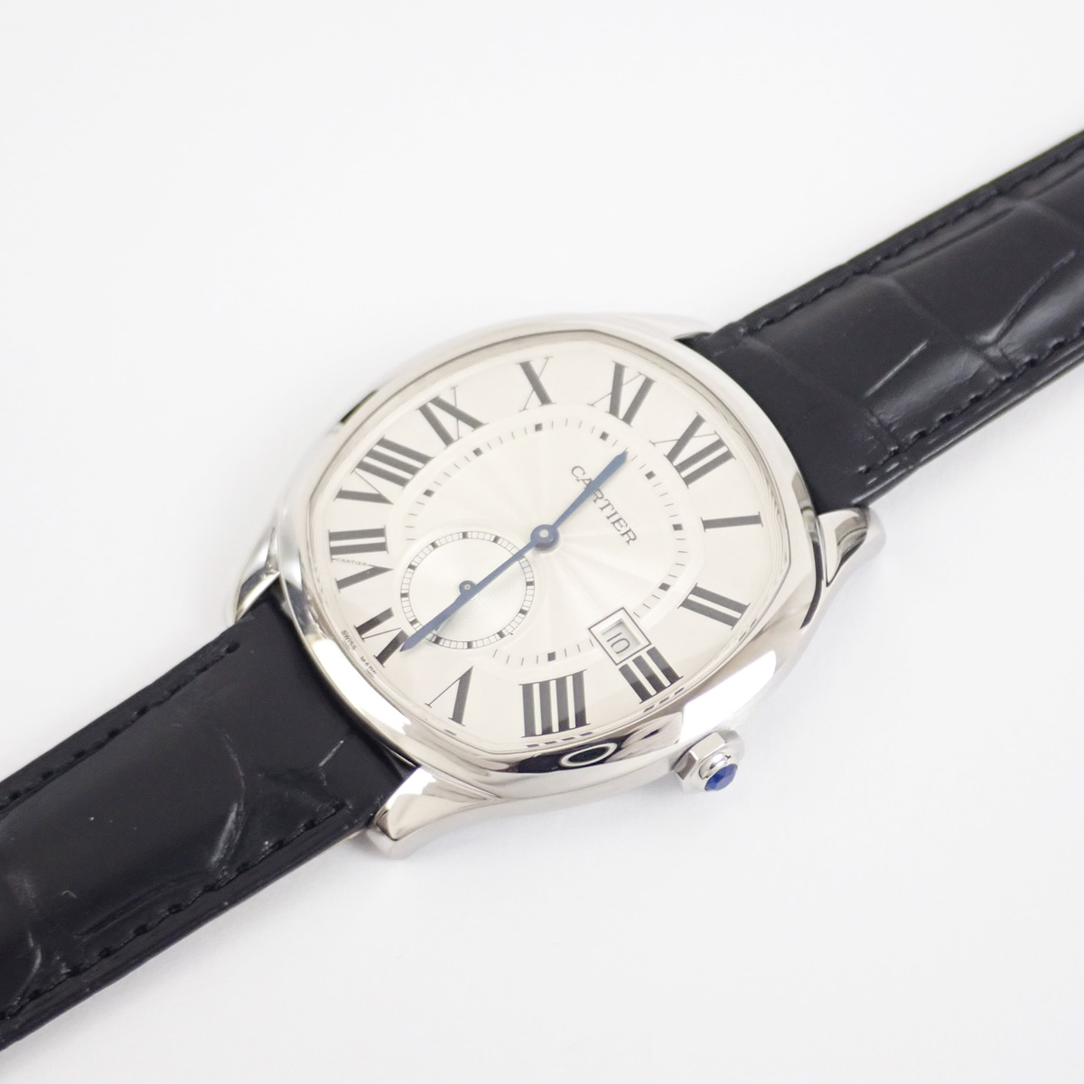 【辛口評価】【SAランク】Cartier カルティエ SS ドライブ ドゥ カルティエ ウォッチ メンズ 腕時計 WSNM0004 シルバー文字盤 ブラックレザー