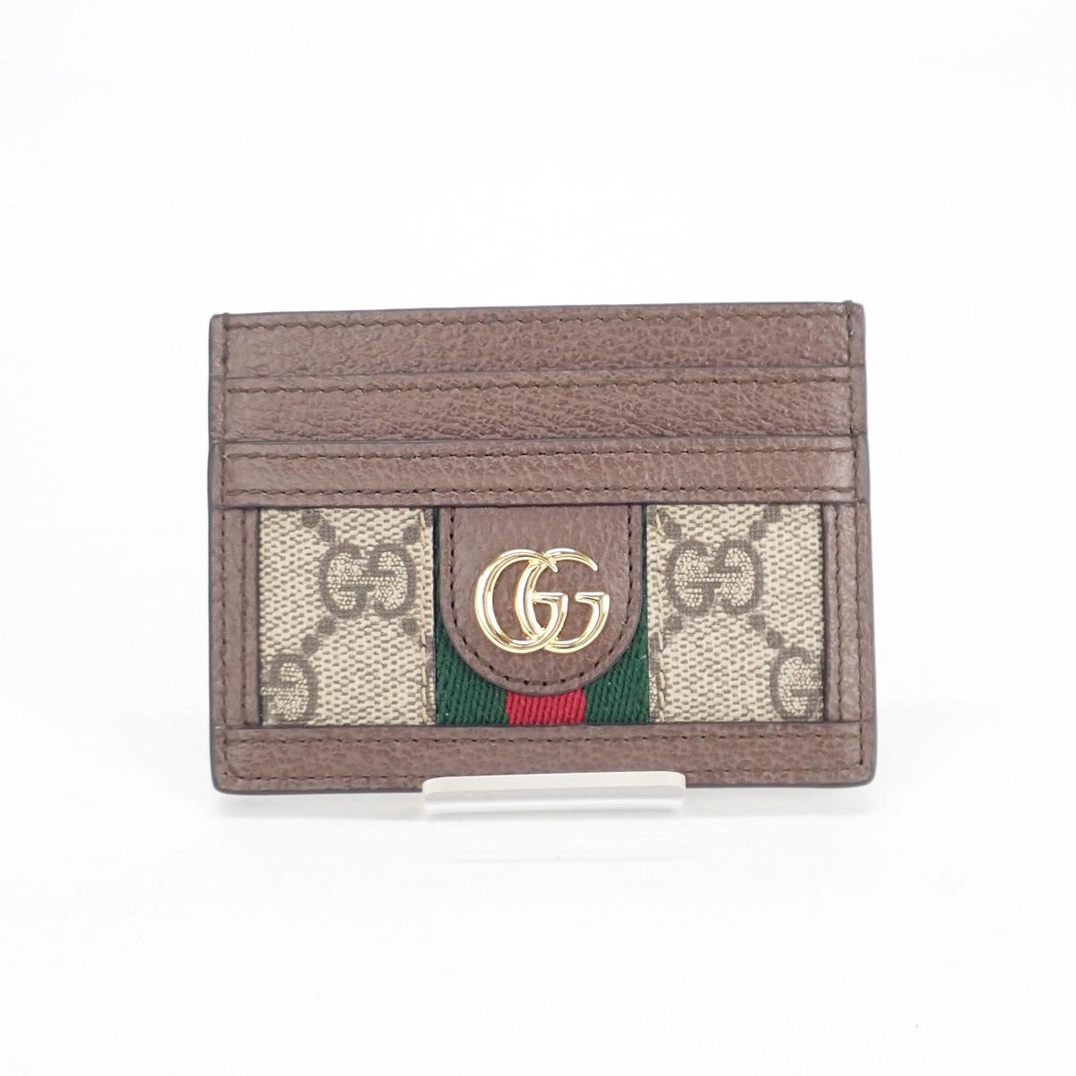 【辛口評価】【Sランク】GUCCI グッチ オフディア GG カードケース 523159 96IWG 8745 ベージュ エボニー