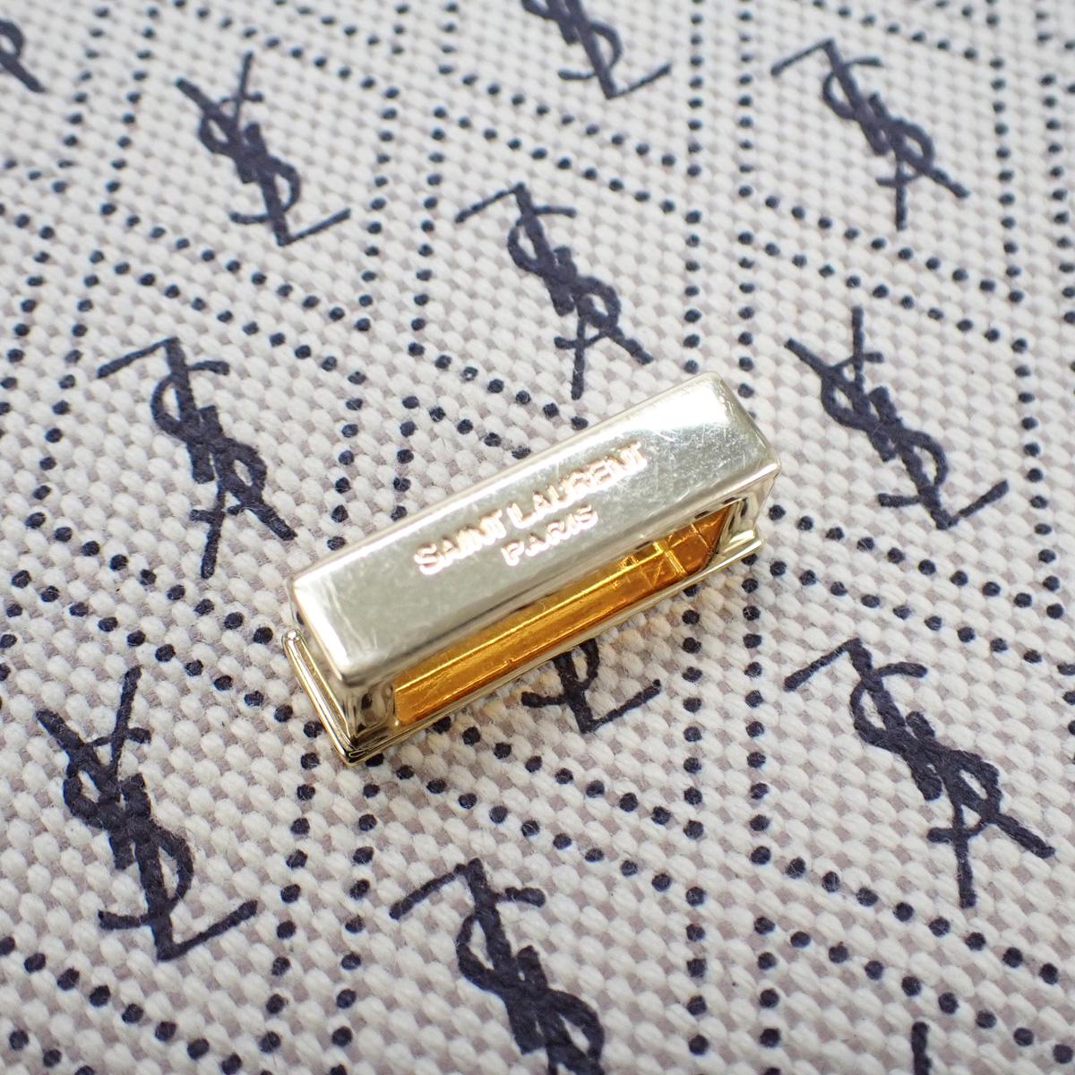 【辛口評価】【Aランク】SAINT LAURENT PARIS サンローランパリ サッチェル モノグラム オールオーバー キャンバス 568604HP41J9760 コットン100% BEIGE ベージュ