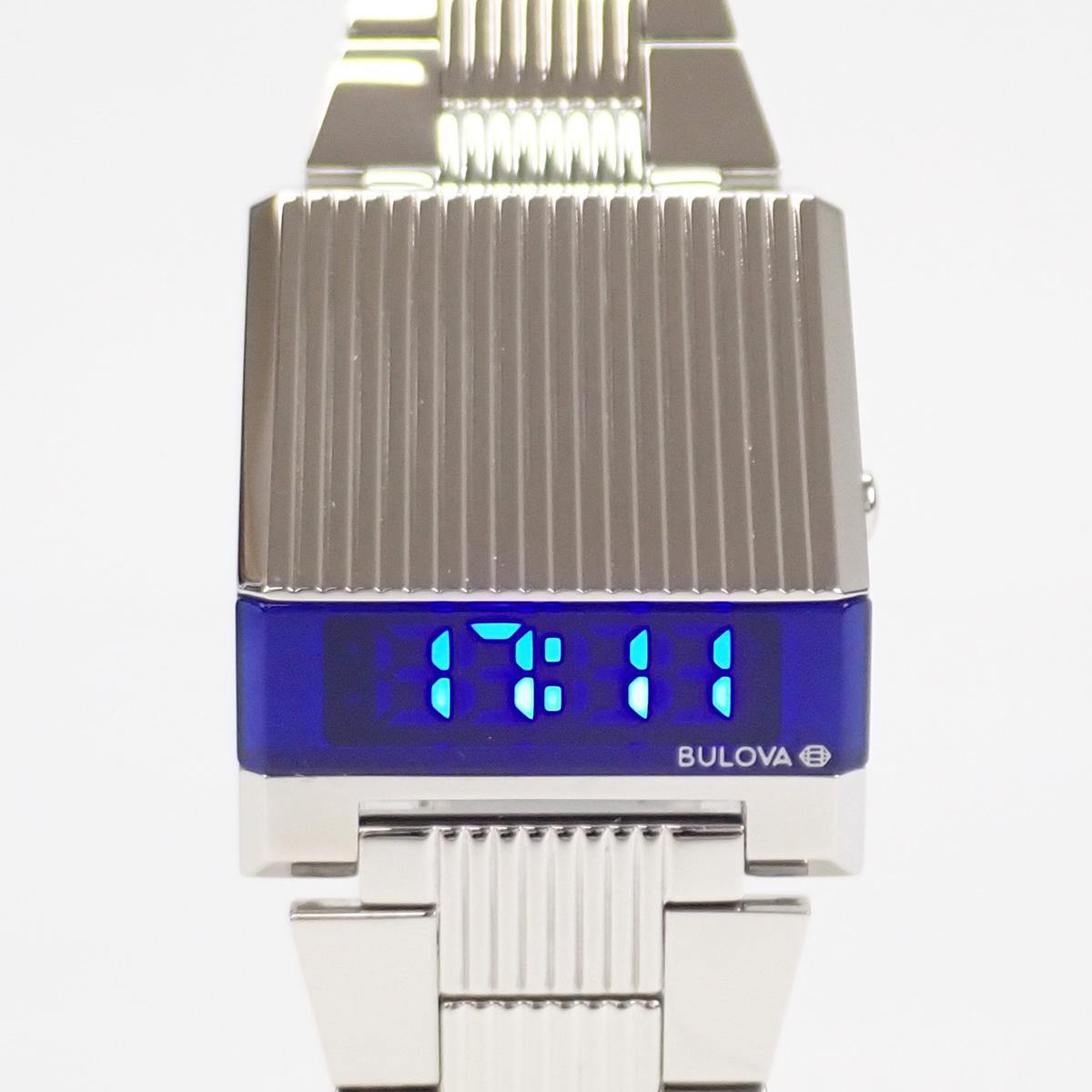 【辛口評価】【Aランク】BULOVA ブローバ SS アーカイブス シリーズ コンピュートロン 96C139 シルバー ブルー文字盤