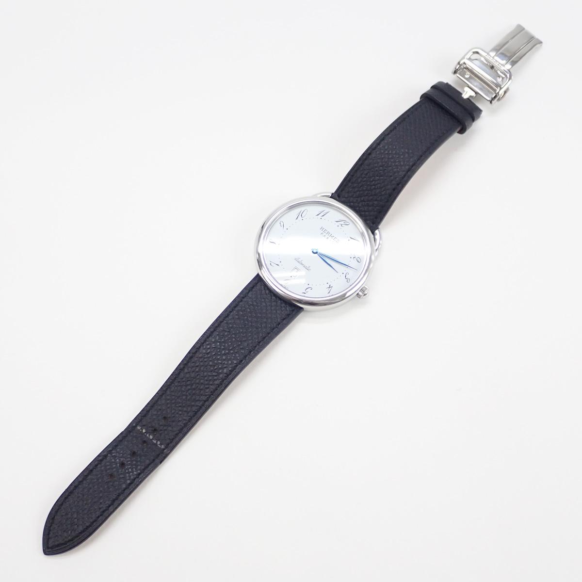 【辛口評価】【ABランク】HERMES エルメス アルソー メンズ腕時計 AR4.810 白文字盤 ブラックレザー