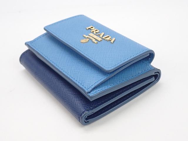 【辛口評価】【Sランク】PRADA プラダ 三つ折り財布 1MH021 SAFFIANO MAREBLUETTE ブルー系