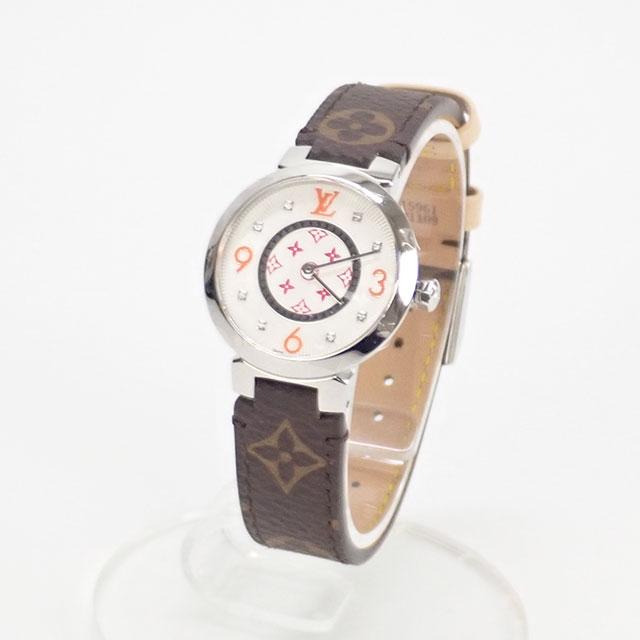 【辛口評価】【Aランク】LOUIS VUITTON ルイヴィトン 日本限定 タンブール モノグラムPM レディース腕時計 QA146Z/R15231 白文字盤 ブラウンレザー