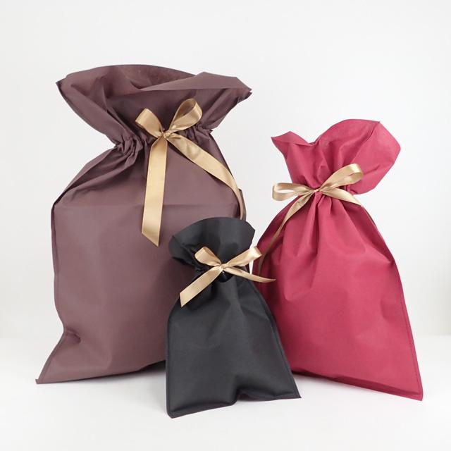 【有料ラッピング】リボン付ラッピング袋 S/M/Lサイズ ブラック/ブラウン/ワイン (※商品とご一緒にご注文ください。単品注文のみ不可 )