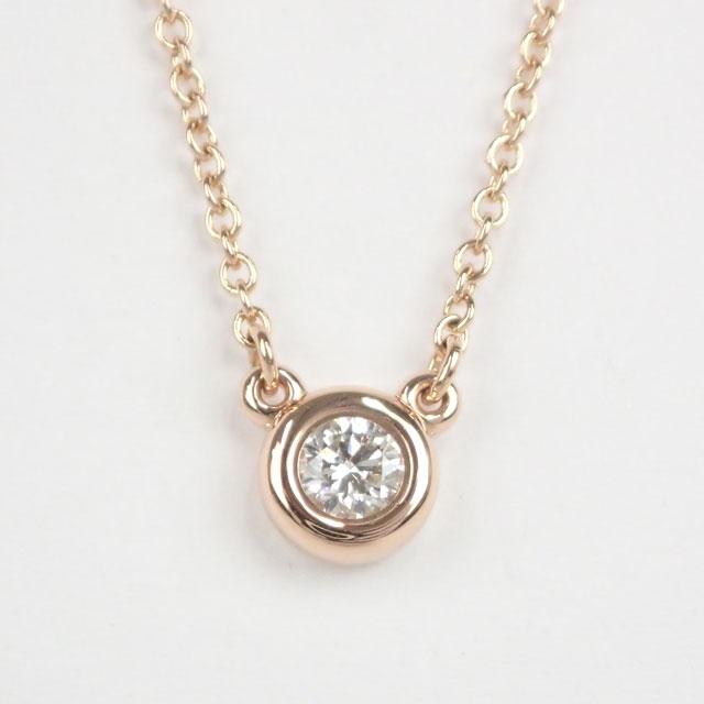 Tiffany&Co. ティファニー K18PG エルサ ペレッティ バイザヤード ネックレス 1Pダイヤ約0.10ct【中古A】【中古】