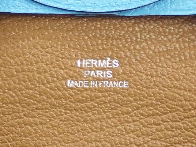 【辛口評価】【Sランク】HERMES エルメス バスティア ヴェルソ コインケース H078479CKAA シェーブルミゾール セレステ クラフト D刻印
