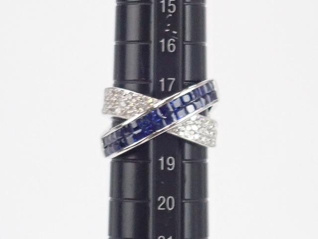 【辛口評価】【Aランク】Pt900 ミステリーセッティング デザインリング サファイア 2.00ct ダイヤ 0.83ct ゲージ棒約18号