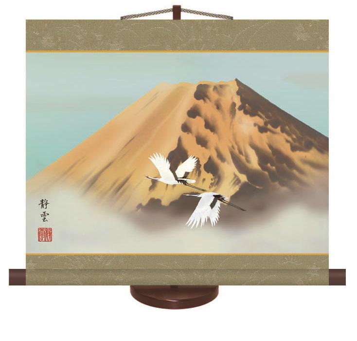 慶祝ミニ掛軸 「金富士飛翔」「松竹梅鶴亀」