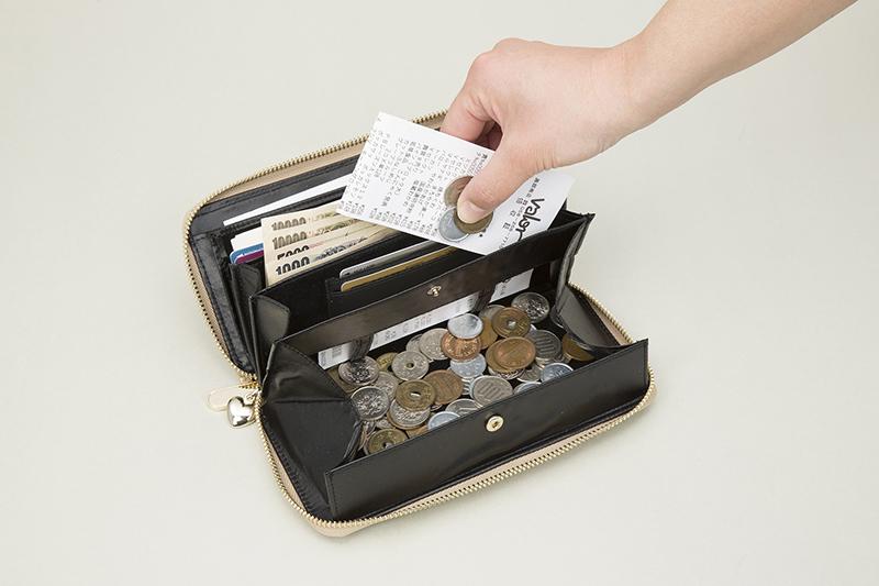 おしゃれnaクローバー 牛革コインスルー財布