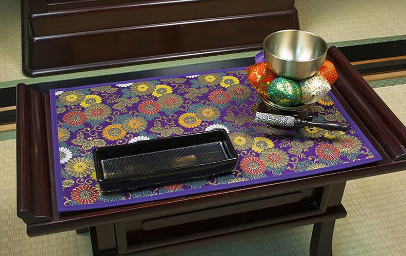 金襴製経机敷 小菊 紫