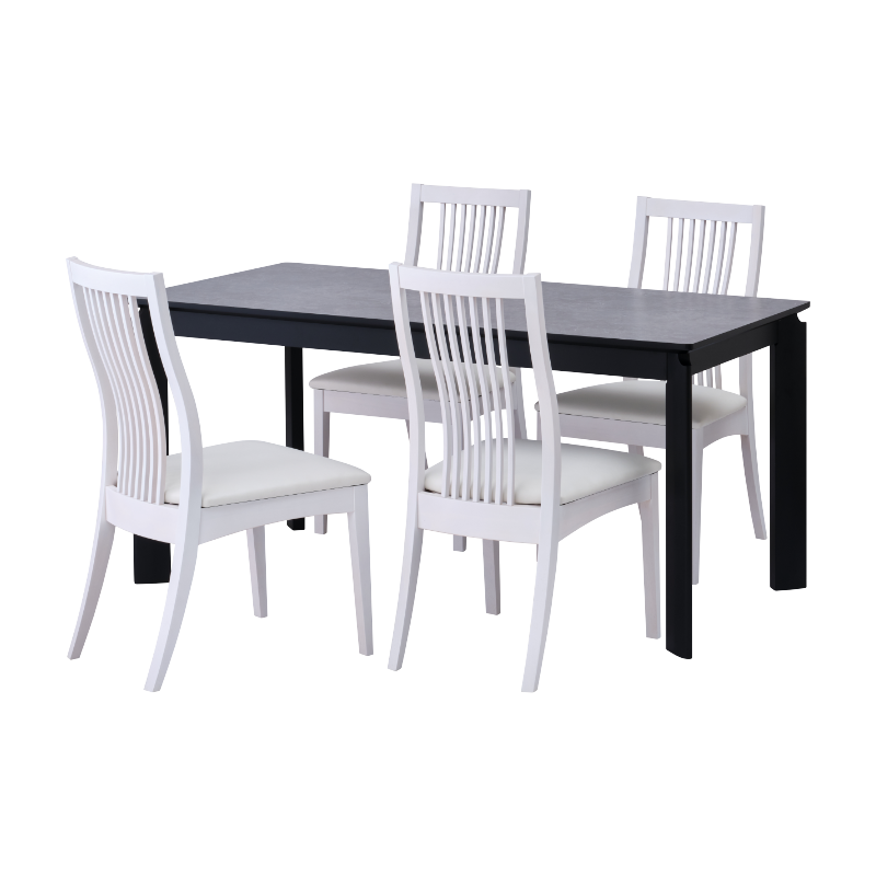ISSEIKI 【SET】BALET DINING 5SET (DT+DCx4)(BK-GY/WH-WH)