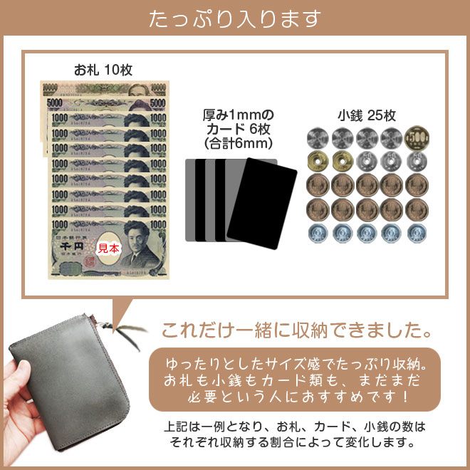 薄くてゆったり ファスナー ミニ財布 本革【脱クロムレザー】 L字ファスナー 小さい財布 日本製