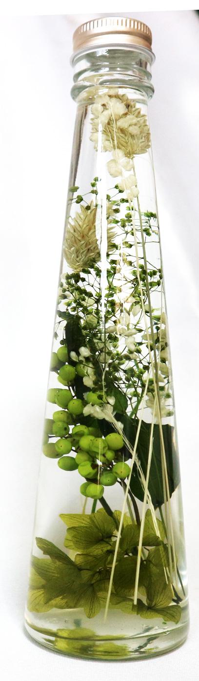 ハーバリウム グリーンアレンジ・LサイズNO.6 リラックスグリーンで健康運UP!!(H22cm×底面直径6cm/重さ約450g)1本【大人気の退色せず、さかさまにしても中が崩れない本物ハーバリウムbyイーグルサム 1本から送料無料