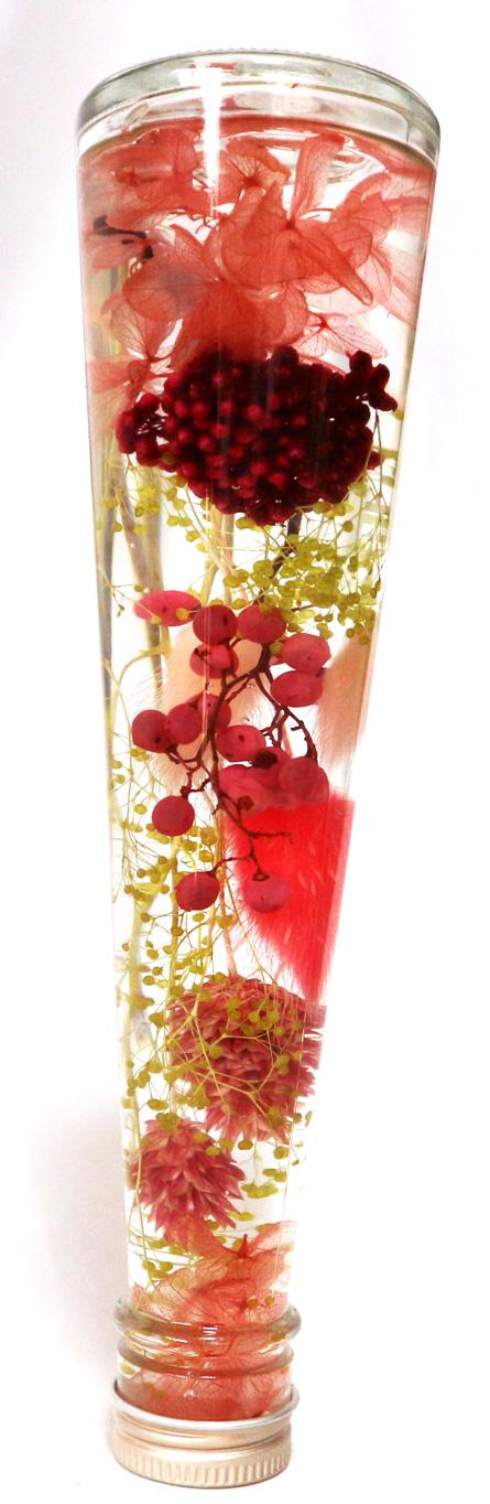 ハーバリウム ピンクレッドアレンジ・LサイズNO.7/ストロベリーソーダピンクで恋愛運UP!!(H22cm×底面直径6cm/重さ約450g)1本【大人気の退色せず、さかさまにしても中が崩れない本物ハーバリウムbyイーグルサム】1本から送料無料キャンペーン中!(^^)!